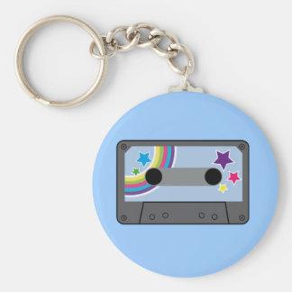 tape basic round button keychain