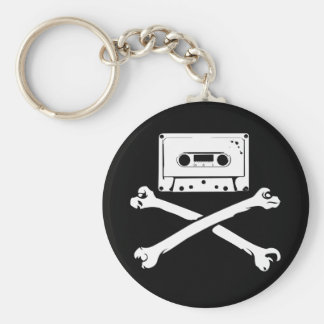 Tape & Crossbones Music Pirate Piracy Home Taping Basic Round Button Keychain