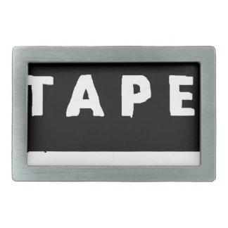 Tape logo rectangular belt buckles