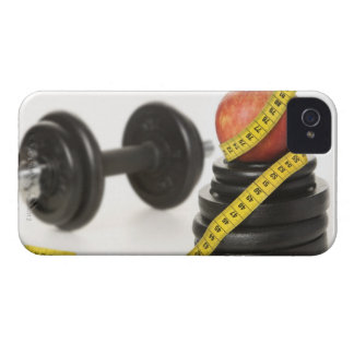 Tape measure, apple, dumbbell and weights iPhone 4 covers