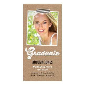 Taped Polaroid Graduation Announcement Picture Card