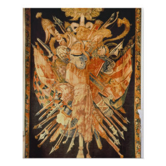 Tapestry depicting war trophies (textile) poster