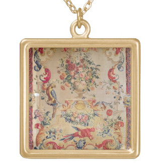 Tapestry in early Rococo style with strapwork and Square Pendant Necklace