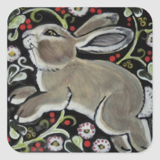 Tapestry Style Gray Rabbit Christmas Gift Wrap Square Sticker