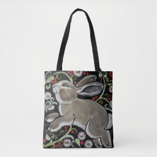 Tapestry Style Gray Rabbit Cute Tote Bag Christmas