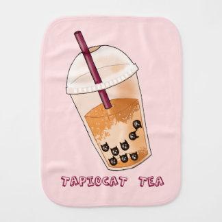 Tapiocat Tea Pun Illustration Burp Cloth
