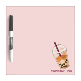 Tapiocat Tea Pun Illustration Dry Erase Board