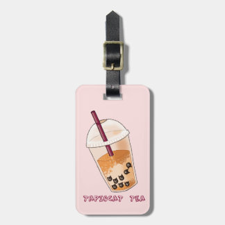 Tapiocat Tea Pun Illustration Luggage Tag