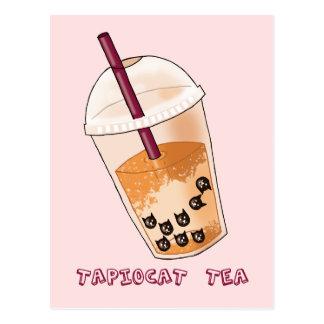 Tapiocat Tea Pun Illustration Postcard