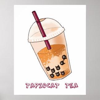Tapiocat Tea Pun Illustration Poster