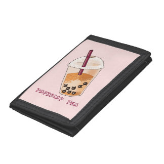 Tapiocat Tea Pun Illustration Tri-fold Wallet