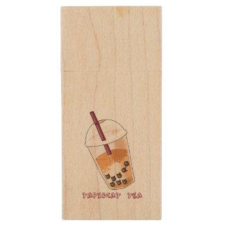 Tapiocat Tea Pun Illustration Wood USB Flash Drive
