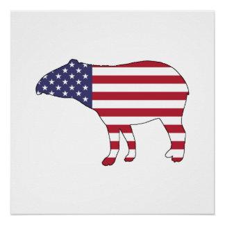 """Tapir """"American Flag"""" Perfect Poster"""