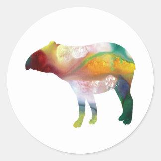 Tapir art classic round sticker