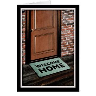 tapis de porte à la maison bienvenu carte de correspondance