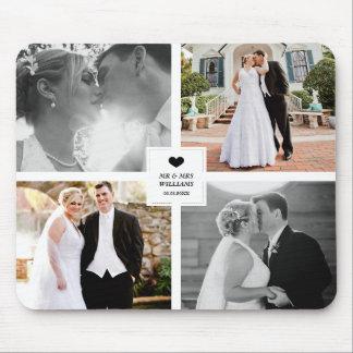 Tapis De Souris Collage noir de photo de mariage de coeur