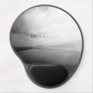 Tapis De Souris Gel La vie est une plage - photo typographique noire