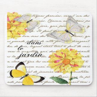 Tapis de souris jaune de jardin de dahlia de papil