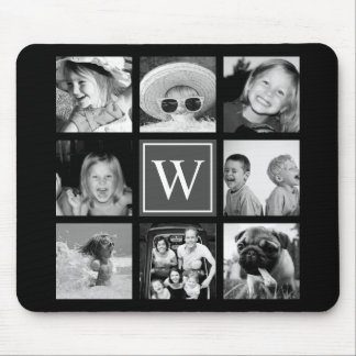 Tapis De Souris Noir et blanc de monogramme de collage de photo