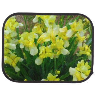 Tapis de voiture de fleur d'iris jaune