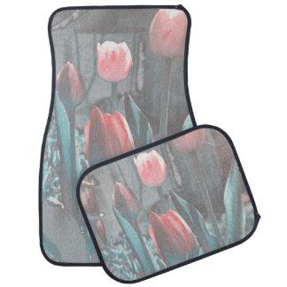 Tapis de voiture de tulipes de turquoise du rose e
