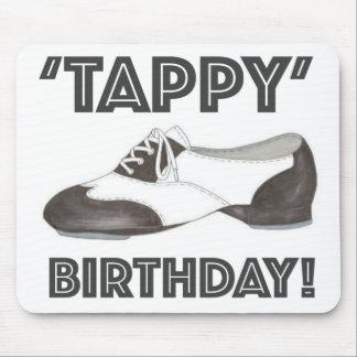 Tappy Birthday Black White Tap Dance Teacher Shoe Mouse Pad