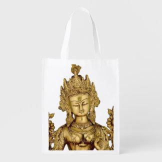 Tara Buddha Buddhist Goddess Yoga Tibet Art Peace Grocery Bag