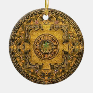 Tara Mandala Round Ceramic Ornament