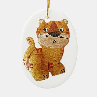 Tara Tiger Ceramic Oval Ornament