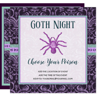 Tarantula Goth Night Halloween Choose Your Poison Card
