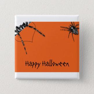 Tarantula Spider crawling on Halloween Orange 2 Inch Square Button