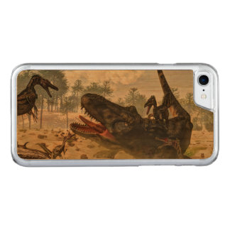 Tarbosaurus attacked by velociraptors carved iPhone 8/7 case