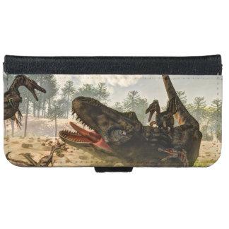 Tarbosaurus attacked by velociraptors iPhone 6 wallet case
