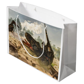 Tarbosaurus attacked by velociraptors large gift bag