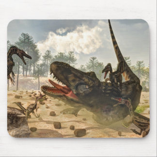 Tarbosaurus attacked by velociraptors mouse pad