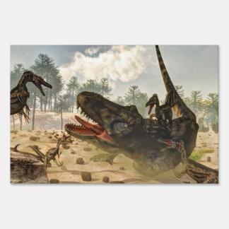 Tarbosaurus attacked by velociraptors sign