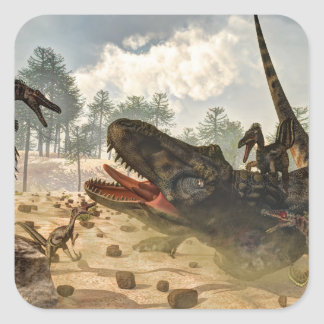 Tarbosaurus attacked by velociraptors square sticker