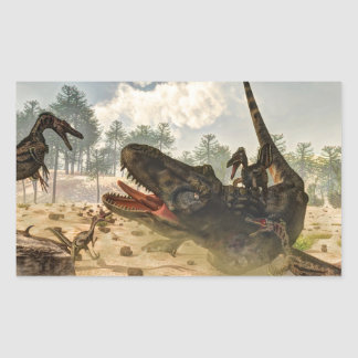Tarbosaurus attacked by velociraptors sticker