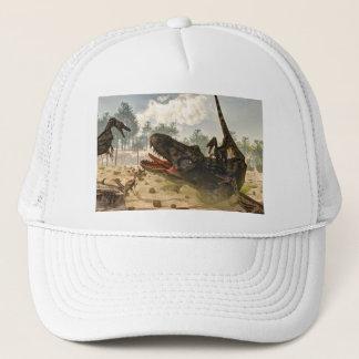 Tarbosaurus attacked by velociraptors trucker hat
