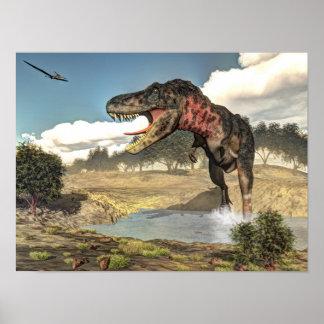 Tarbosaurus dinosaur - 3D render Poster