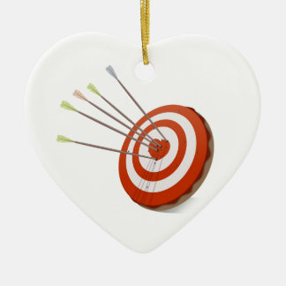 Target and Red Heart Ceramic Heart Ornament