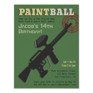 Target Paintball Birthday Party Invitations