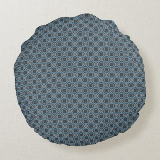 Target Pattern Grey and Blue Round Pillow