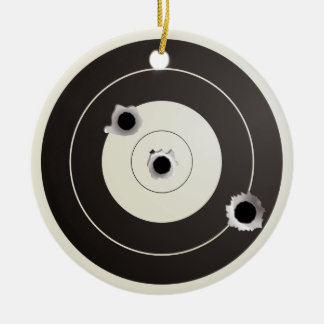 Target shooting round ceramic ornament