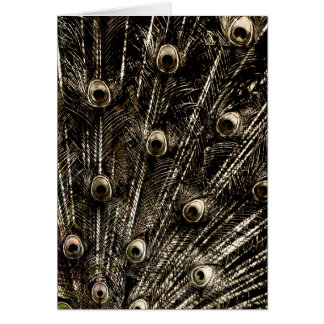 Tarnished Dark Silver Metal Foil Peacock Feathers Card