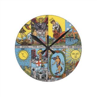 Tarot Cards Collage Round Clock