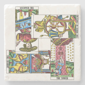 Tarot Cards Magician Chariot Tower Fortune Stone Coaster