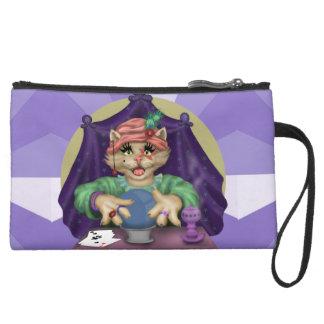 TAROT CAT Sueded Mini Clutch Bag Wristlet Purse
