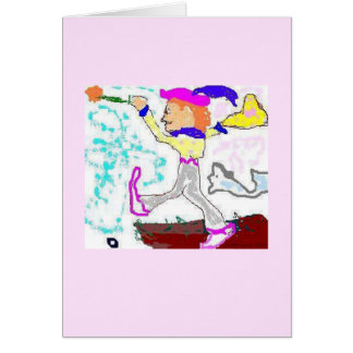 Tarot Fool Greeting (pink background) Card