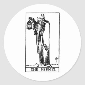 Tarot 'hermit' round sticker